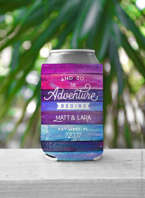 And So The Adventure Begins - Custom Wedding Favor Can Cooler