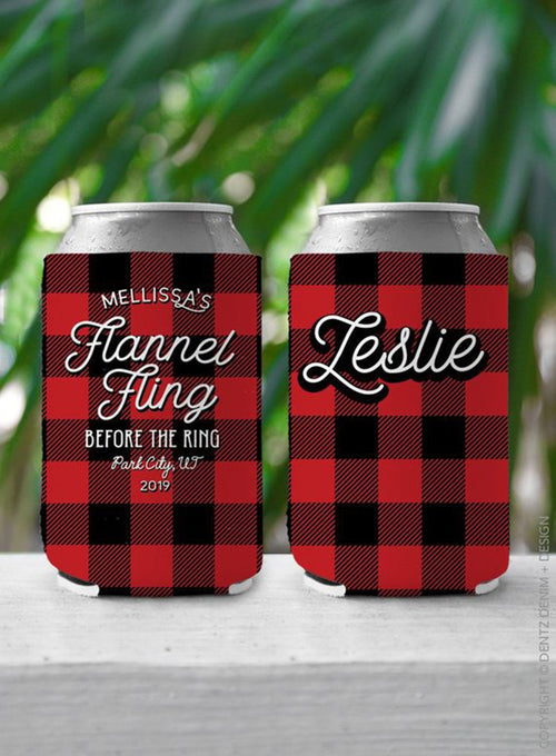 Flannel Fling Before the Ring - Custom Bachelorette Party Can Cooler