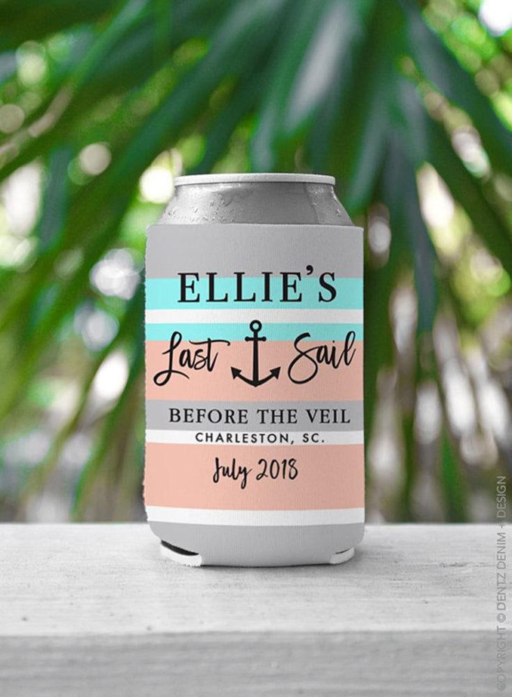 Bachelorette Party, Favor, Can Cooler - Last Sail, Before The Veil - Can Insulator, Custom, Customizable,Bridal Party Favor,Bridesmaid Gift