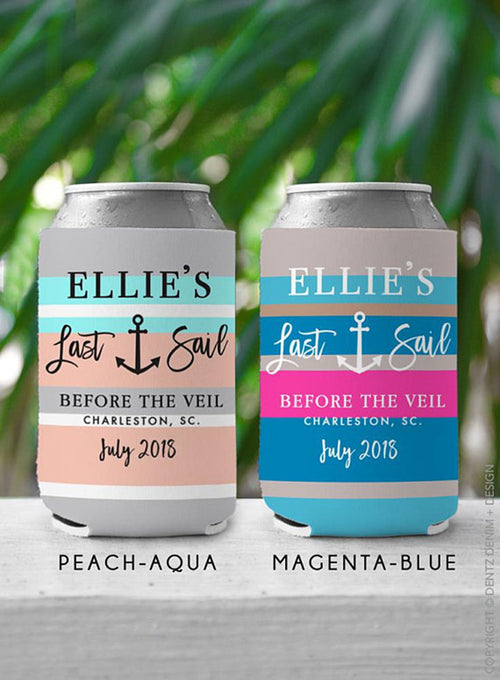 Last Sail Before The Veil - Custom Bachelorette Party Can Cooler