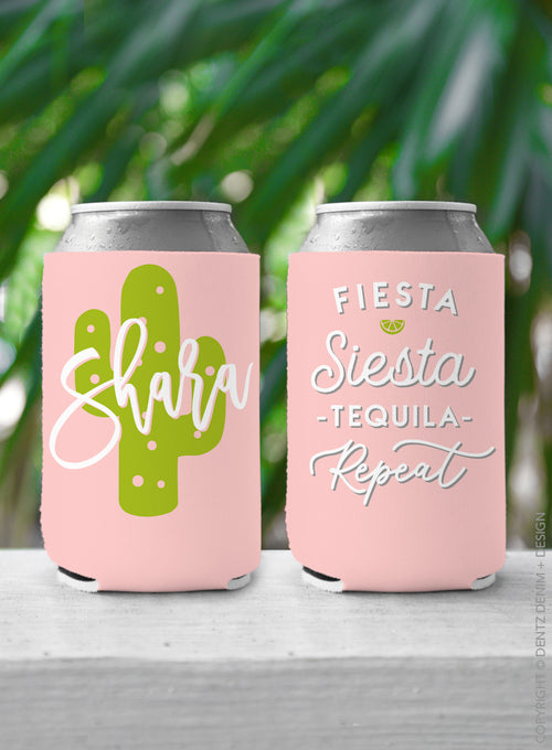 Fiesta Siesta Tequila Repeat - Custom Bachelorette Party Can Cooler
