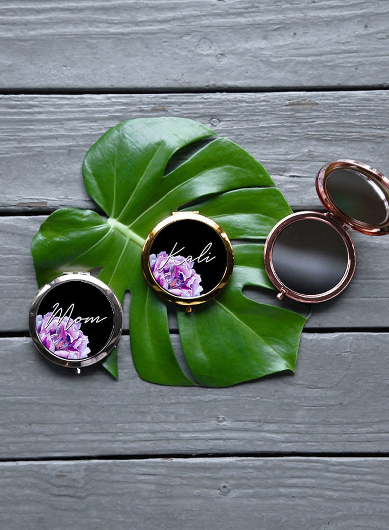 Purple Peony Flower, White or Black background Gift Box Set, Custom Pouch, Compact Mirror and Personalized 20oz. Skinny Tumbler