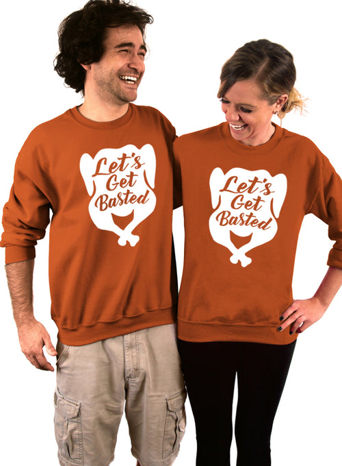 Lets Get Basted Thanksgiving Crew Sweatshirt - Unisex Crew Neck Crew Sweatshirt