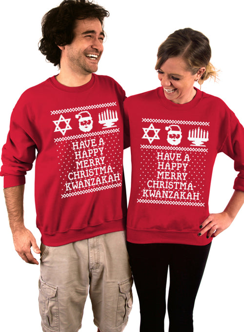 Have a Happy Merry Christmakwanzakah Crew Sweatshirt - Unisex Crew Neck Crew Sweatshirt