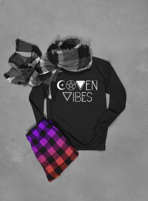 Coven Vibes Halloween Witch Sweatshirt - Unisex Crew Neck Crew Sweatshirt