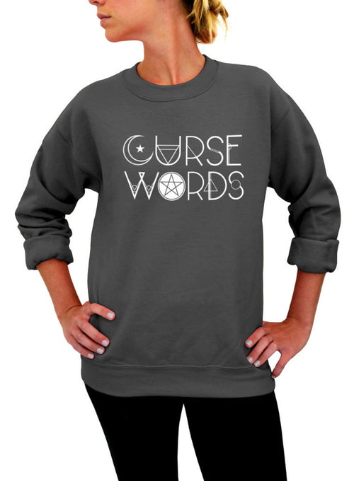 Curse Words Halloween Witch Sweatshirt - Unisex Crew Neck Crew Sweatshirt