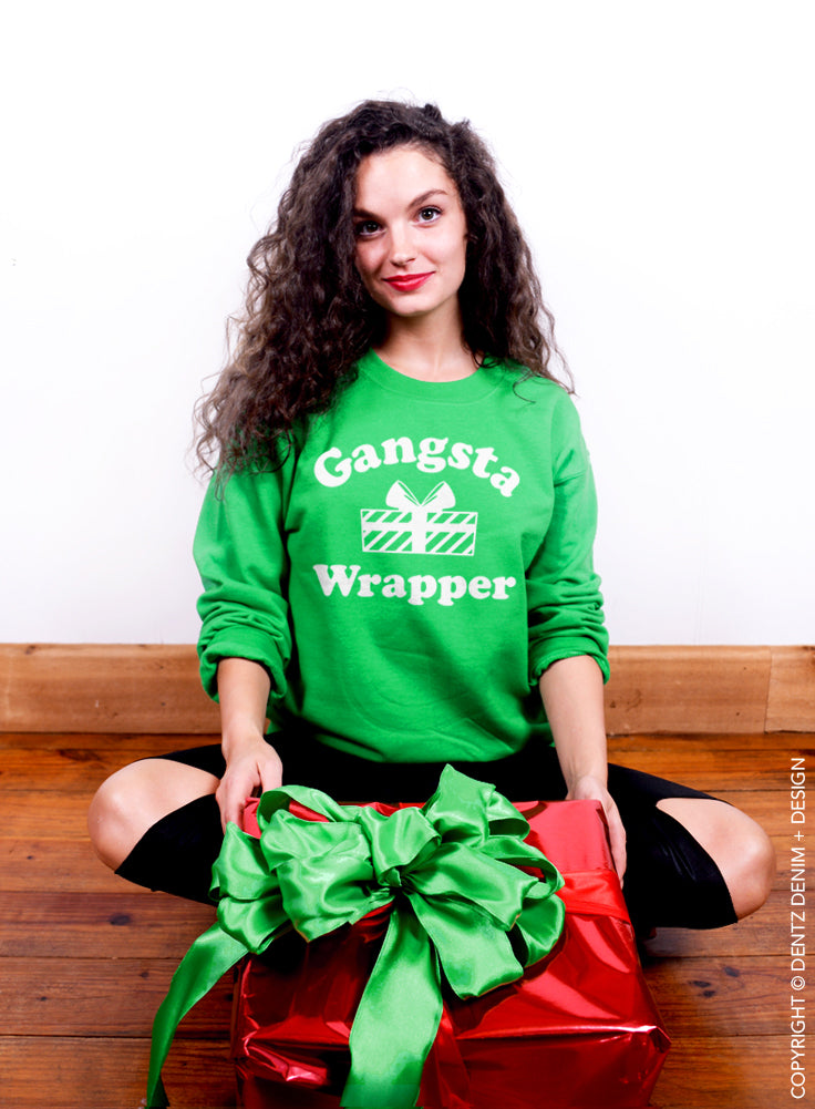 Gangsta Wrapper Crew Sweatshirt - Unisex Crew Neck Crew Sweatshirt