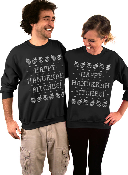 Happy Hanukkah Bitches Crew Sweatshirt - Unisex Crew Neck Crew Sweatshirt