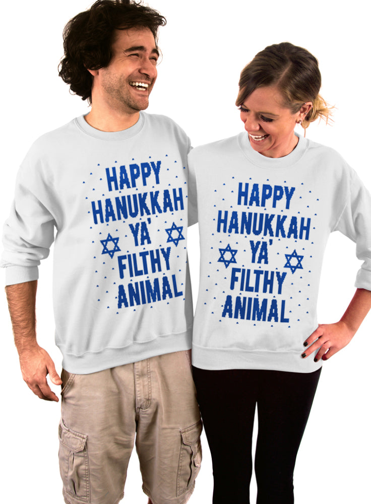 Happy Hanukkah Ya Filthy Animal Crew Sweatshirt - Unisex Crew Neck Crew Sweatshirt