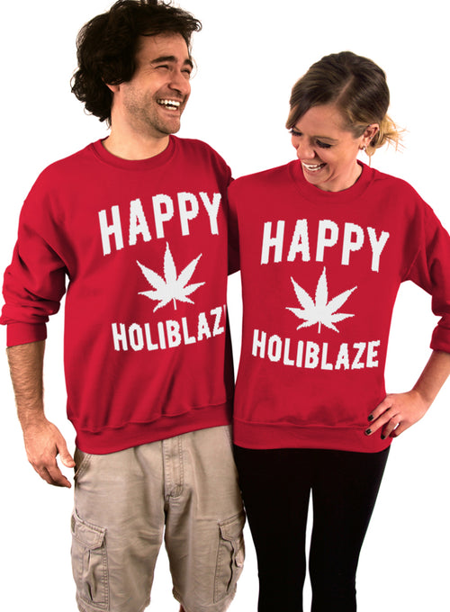 Happy Holiblaze 420 Crew Sweatshirt - Unisex Crew Neck Crew Sweatshirt