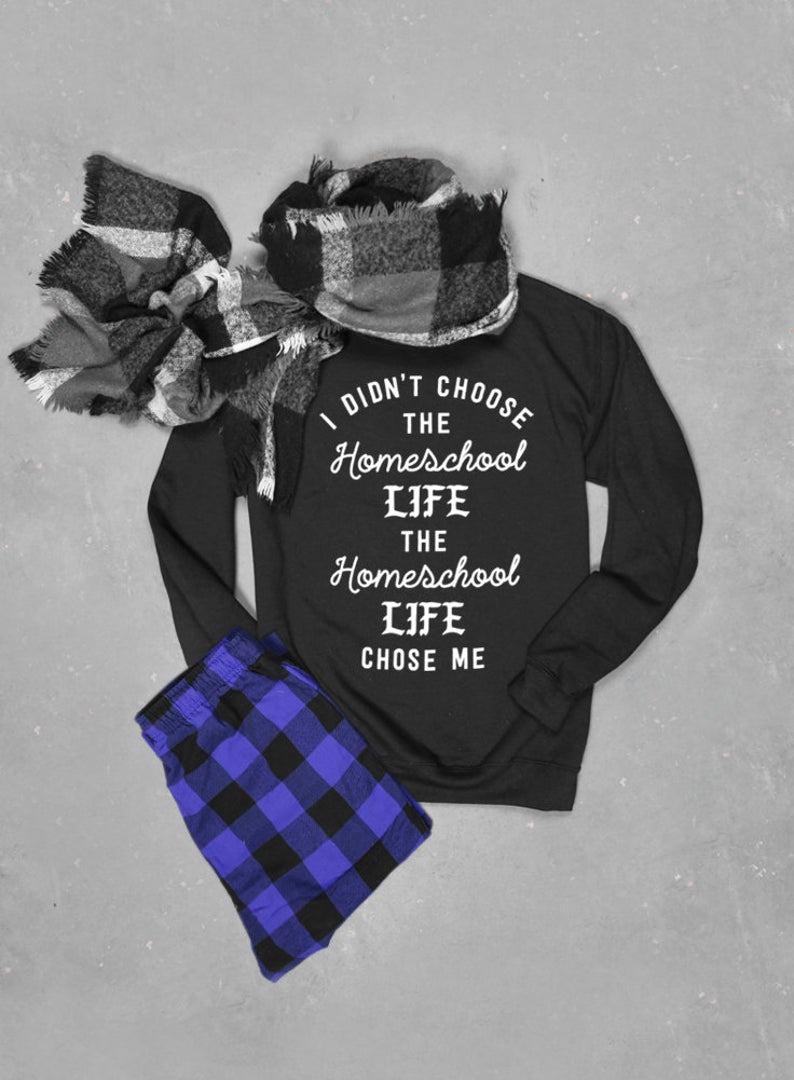I didn't choose the Homeschool Life Chose Me Sweater, Unisex Crew Neck Sweatshirt