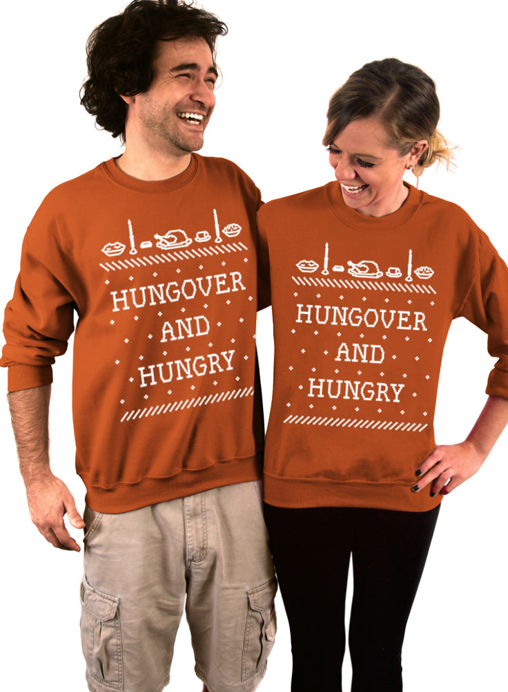 Hungover and Hungry Thanksgiving Crew Sweatshirt - Unisex Crew Neck Crew Sweatshirt