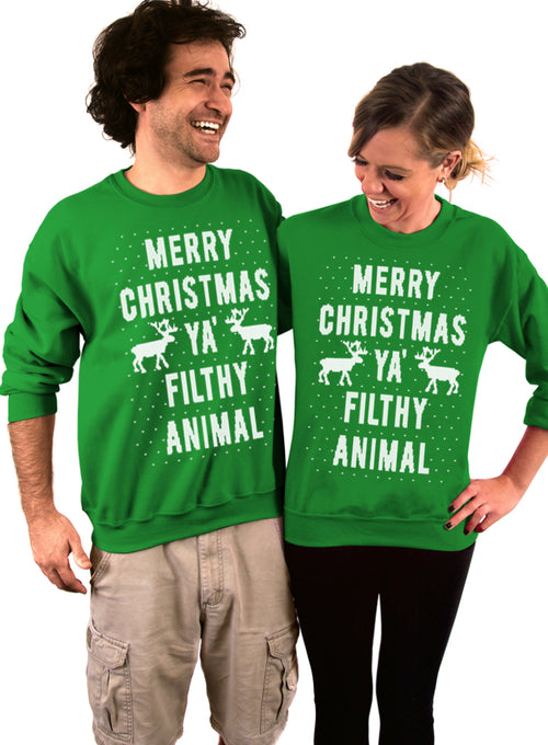 Knit Style Merry Christmas Ya Filthy Animal Crew Sweatshirt - Unisex Crew Neck Crew Sweatshirt