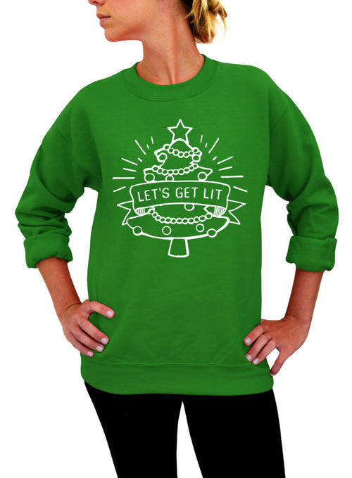 Let's Get Lit, Shirt, Ugly Christmas, Funny Christmas, Sweatshirt, Christmas Sweater, Crew Neck Sweatshirt