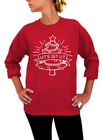 Ugly Christmas Cat Sweater, Meowy Christmas, Holiday Crew Neck Sweatshirt