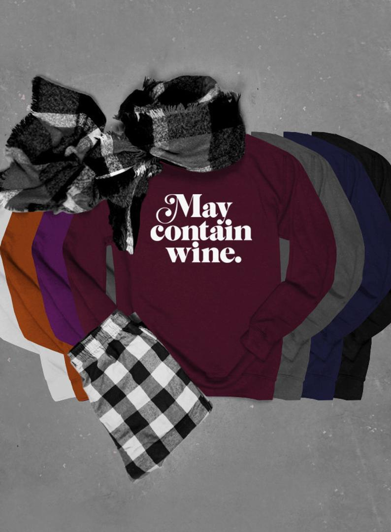 May Contain Wine, Thanksgiving Unisex Crew Neck Crew Sweatshirt