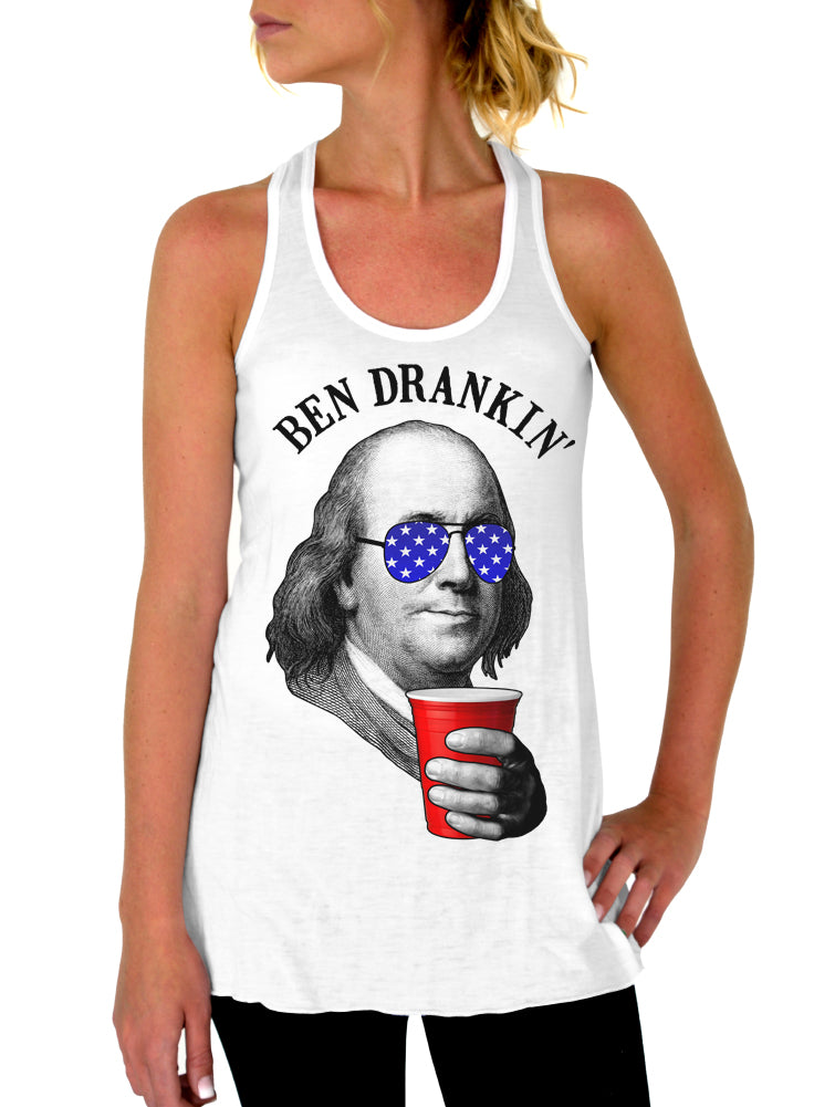 5765a1df8 July 4th, Ben Drankin' Tank Top, Womens Flowy Racerback Tank ...