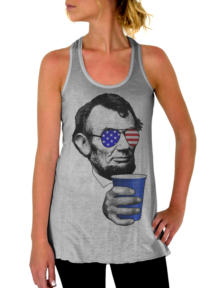 Abraham Lincoln Drinking Tank - Flowy Racerback Tank Top