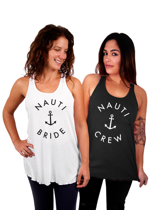Nauti Bride and Nauti Crew Bachelorette Party Tanks - Flowy Racerback Tank Top
