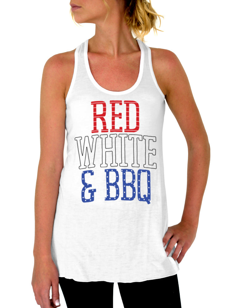 Red White and BBQ 4th of July Tank - Flowy Racerback Tank Top
