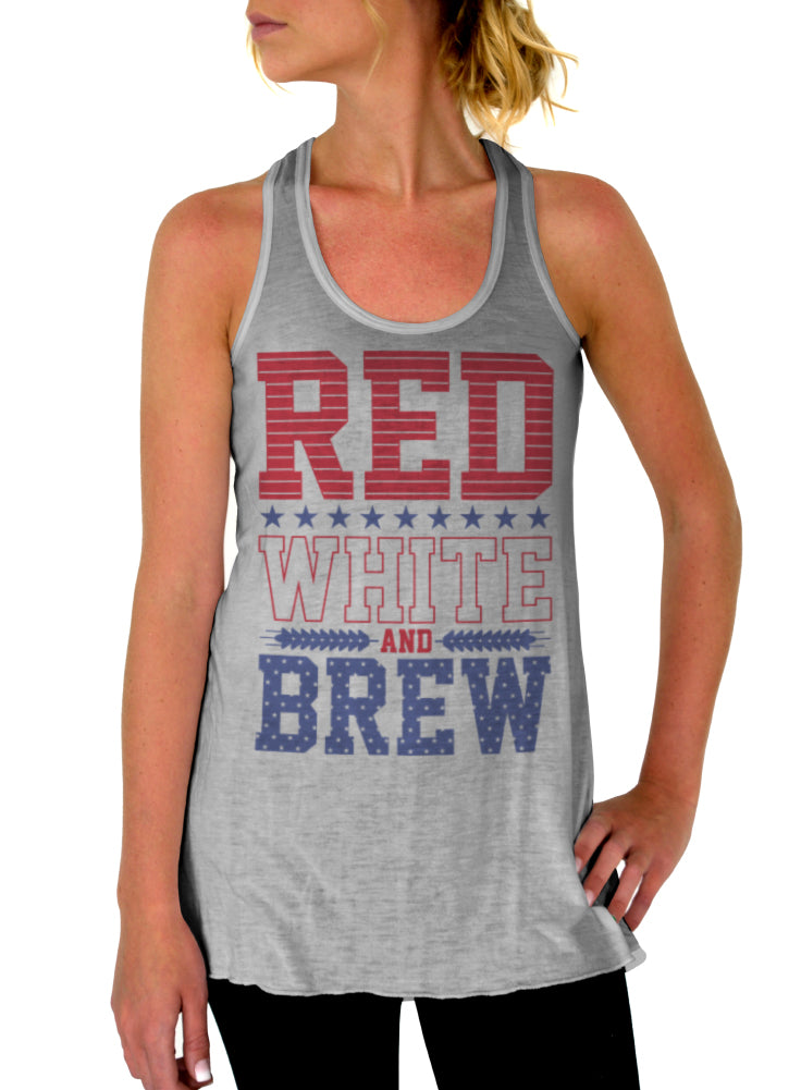 Red White and Brew 4th of July Tank - Flowy Racerback Tank Top