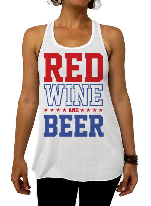 Red Wine and Beer 4th of July Tank - Flowy Racerback Tank Top