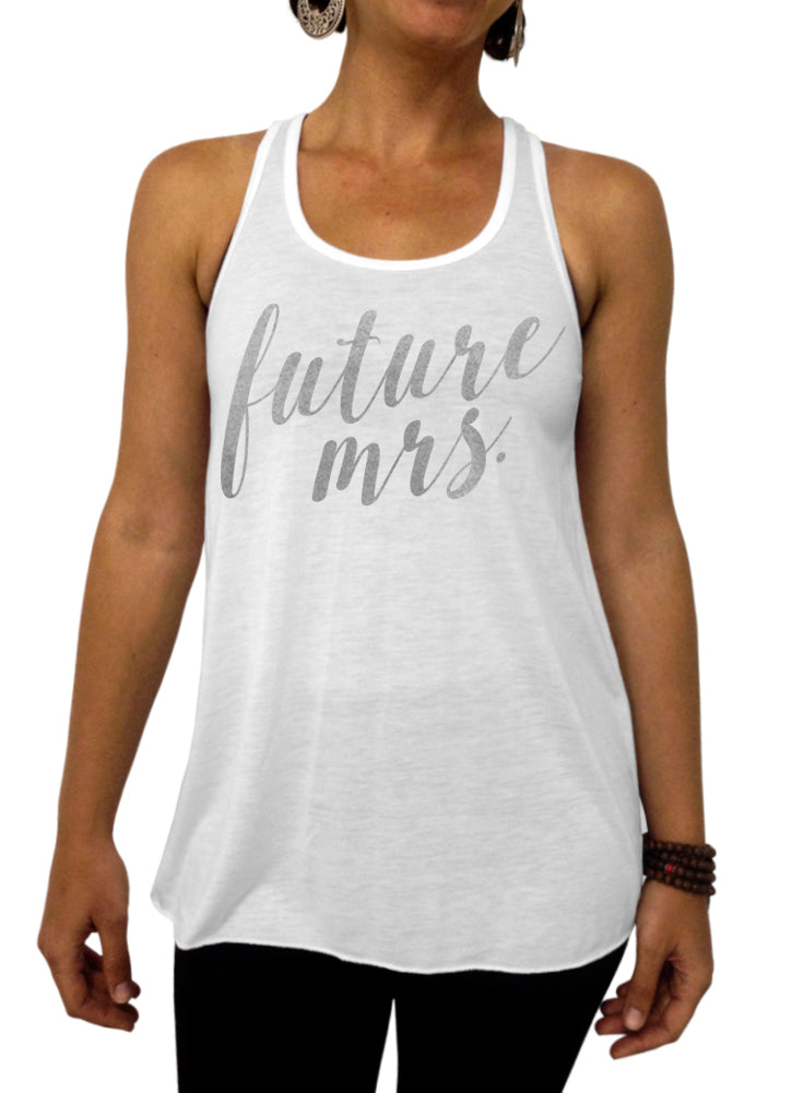 Future Mrs. Rose and Pearl Collection Tank - Flowy Racerback Tank Top