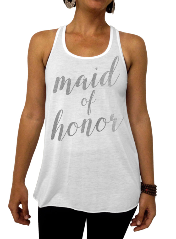 Maid of Honor Rose and Pearl Collection Tank - Flowy Racerback Tank Top