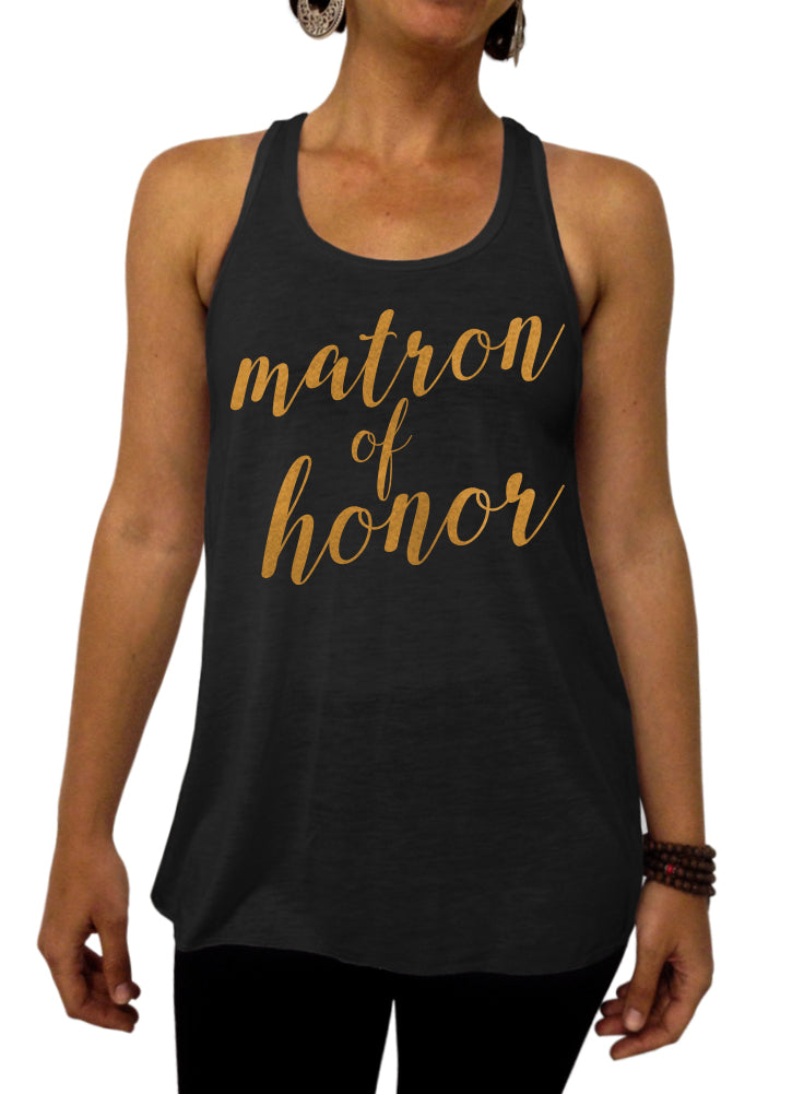 Matron of Honor Rose and Pearl Collection Tank - Flowy Racerback Tank Top