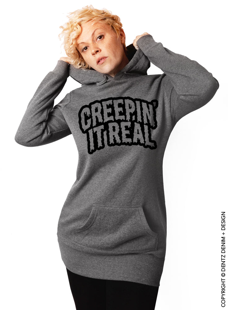 Creepin' It Real Halloween Hoodie - Tunic Sweatshirt Dress