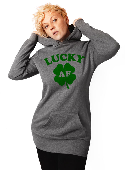 Lucky AF St. Patricks Day Hoodie - Tunic Sweatshirt Dress
