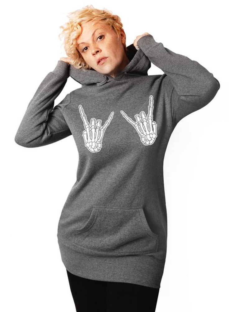 Rock Hands Skeleton Hands Halloween Hoodie - Tunic Sweatshirt Dress