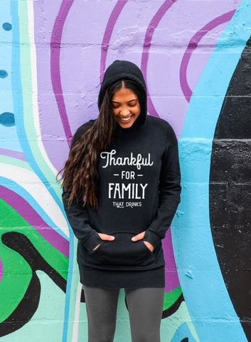 Funny Thanksgiving Sweatshirt - Grateful For Friends Who Drink - Tunic Hoodie Dress