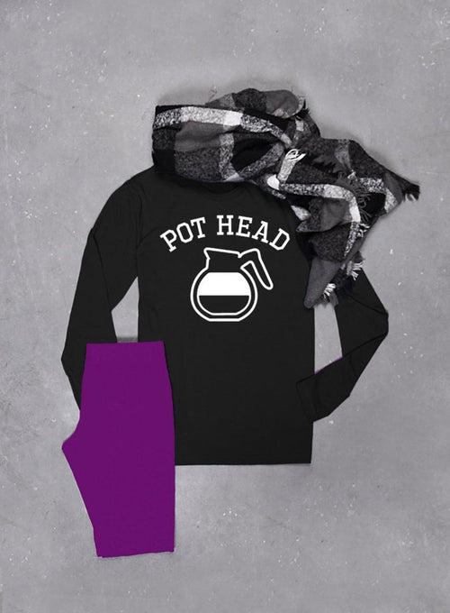 Coffee T-Shirt Pot Head Long Sleeve T-shirt - Unisex Long Sleeved Tee