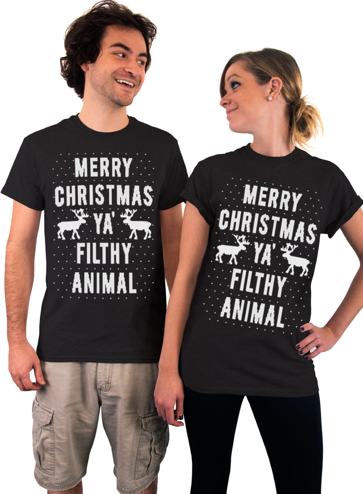 Merry Christmas Ya Filthy Animal Sweater Pattern T-Shirt - Unisex T-shirt