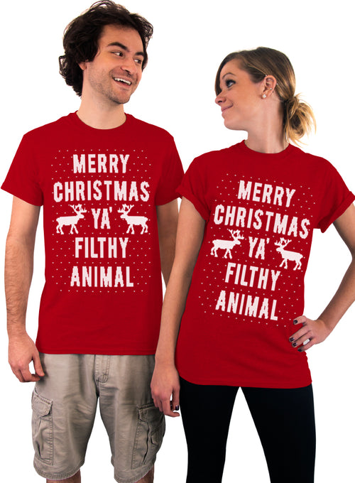 Merry Christmas, Ya Filthy Animal, Sweater, Pattern, Holiday, Unisex Tshirt, Mens Shirt, Womens Shirt, Knit Style Print