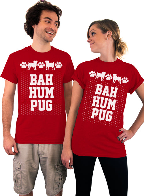 BAH HUM PUG, Unisex T-Shirt, Mens clothing, Womens clothing, Pets, Dog ,Pugs, Animal Lover, Bah Humbug Parody, Ugly Christmas Shirt