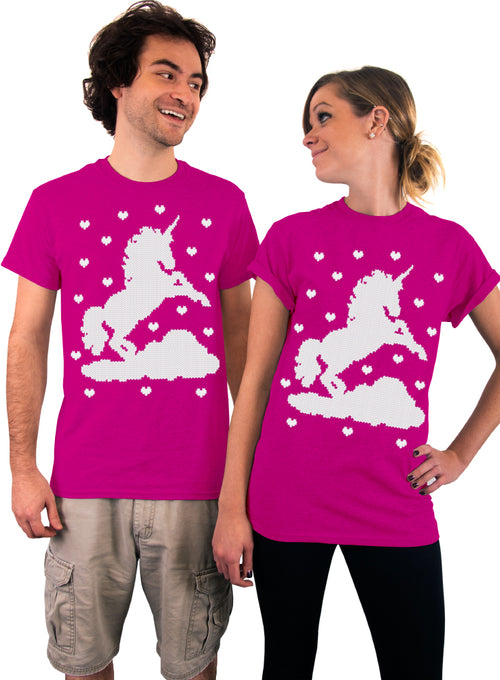 Unicorn and Hearts, Ugly Christmas Unicorn, Unisex T-Shirt, Unicorn Holiday Tee, Unisex Tshirt, Mens Shit, Womens Shirt, Gift Idea