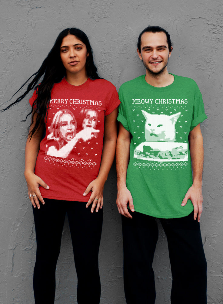 Set of 2 Christmas Shirts, Merry Christmas, Meowy Christmas, Woman Yelling At A Cat Meme - Unisex T-shirts