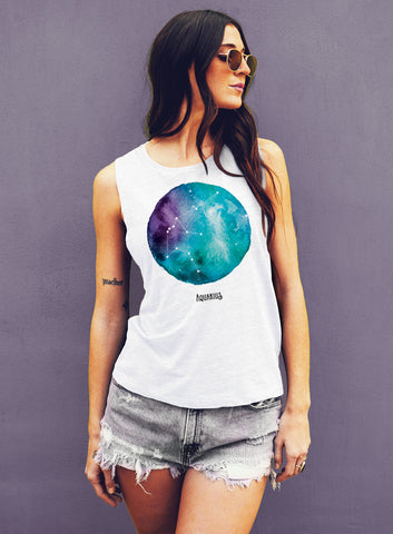 Sagittarius Watercolor Zodiac Constellation - Muscle Tee