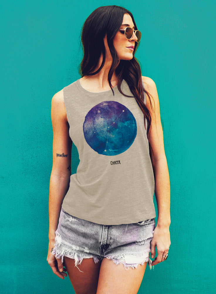 Cancer Watercolor Zodiac Constellation Tank - Muscle Tee