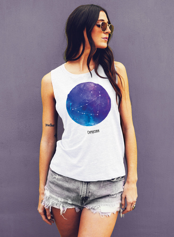 Capricorn Watercolor Zodiac Constellation Tank - Muscle Tee