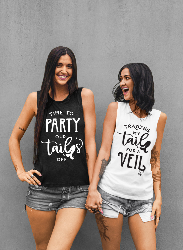 Time To Party Our Tails Off, Trading My Tail For a Veil Mermaid Bride and Bridesmaid Tank Tops - Muscle Tee