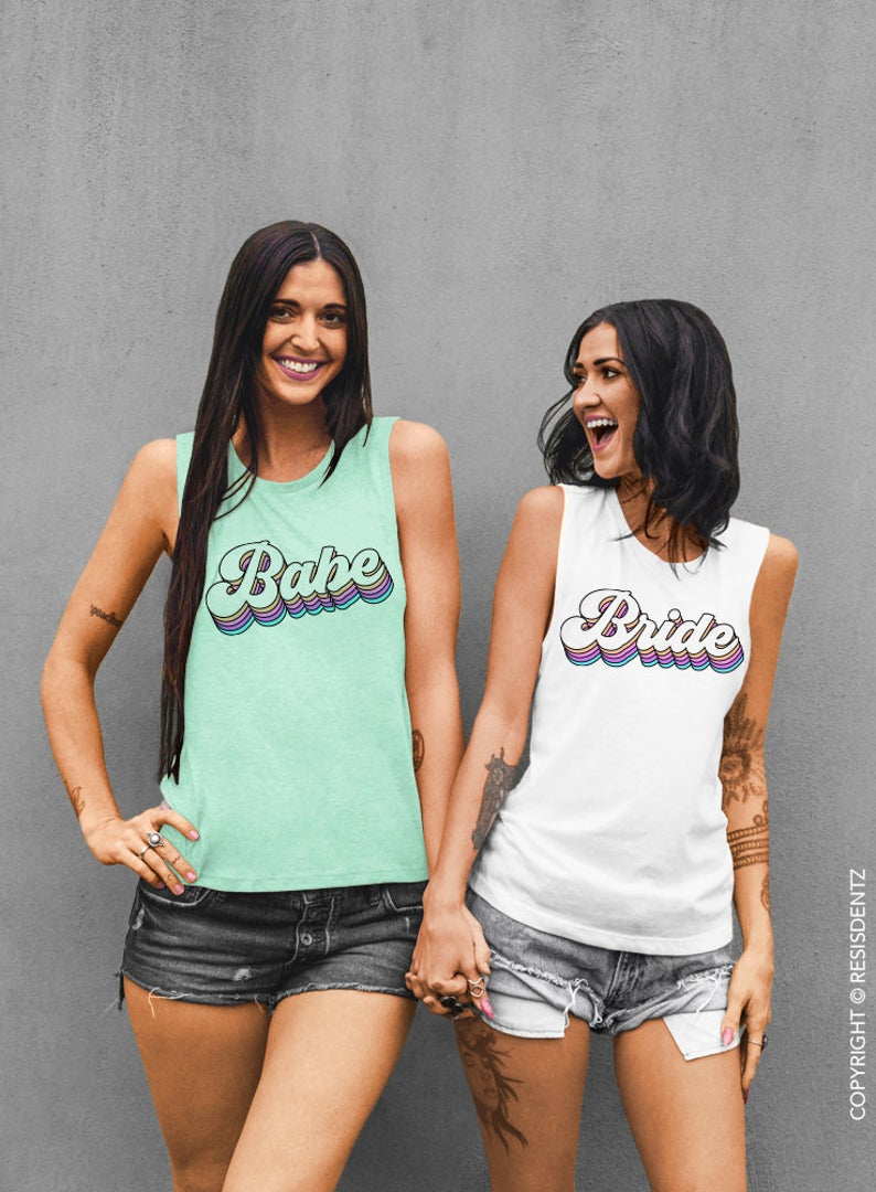 Pastel Retro Bride and Babe - Muscle Tee