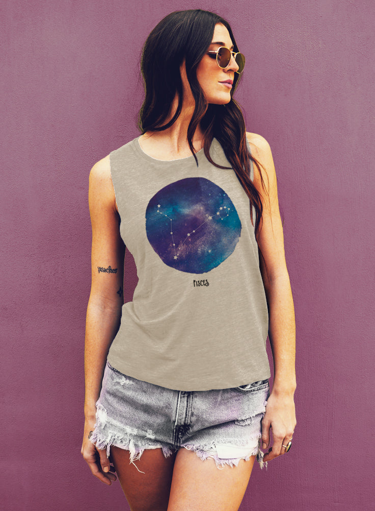 Pisces Watercolor Zodic Constellation Tank - Muscle Tee