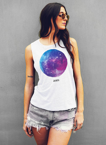 Virgo Watercolor Zodiac Constellation Tank - Muscle Tee