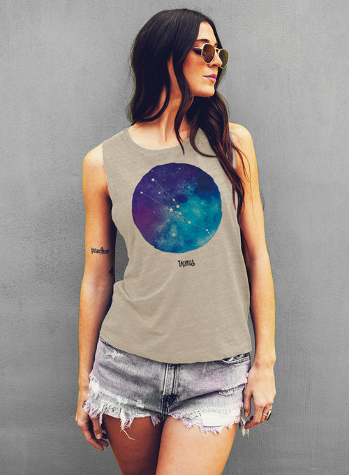 Taurus Watercolor Zodiac Constellation - Muscle Tee