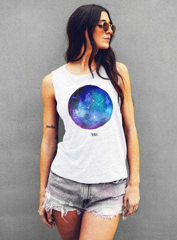 Leo Watercolor Zodiac Constellation Tank - Muscle Tee