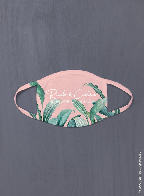 Pale Pink With Palm Leaves - Face Mask, Custom Masks, Adjustable Strap Option