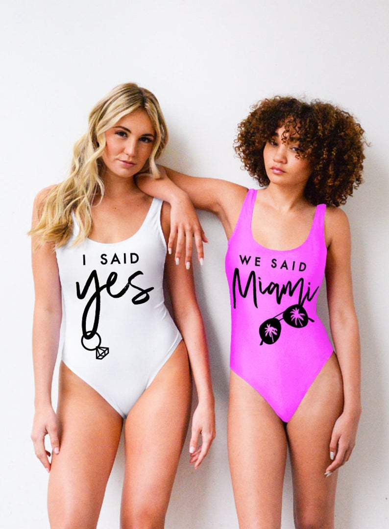 Miami Bachelorette Party, I Said Yes, We Said Miami – One Piece Bathing Suit, Swimwear Swimsuit